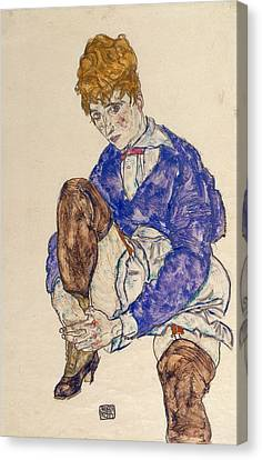 Portrait Of The Artist's Wife Seated, Holding Her Right Leg Canvas Print by Egon Schiele