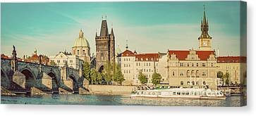 Prague, Czech Republic. Charles Bridge, Boat Cruise On Vltava River. Vintage Canvas Print by Michal Bednarek