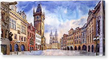 Prague Old Town Square Canvas Print by Yuriy  Shevchuk