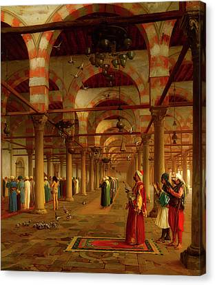 Canvas Print featuring the painting Prayer In The Mosque by Jean-Leon Gerome