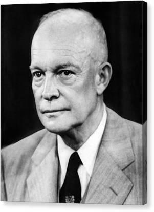 1950s Portraits Canvas Print - President Dwight D. Eisenhower by Underwood Archives