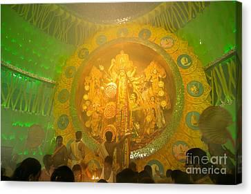 Priests Praying To Goddess Durga Durga Puja Festival Celebration Kolkata India Canvas Print by Rudra Narayan  Mitra