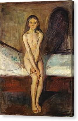 Puberty Canvas Print by Edvard Munch