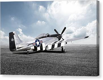 Canvas Print featuring the digital art Quick Silver P-51 by Peter Chilelli