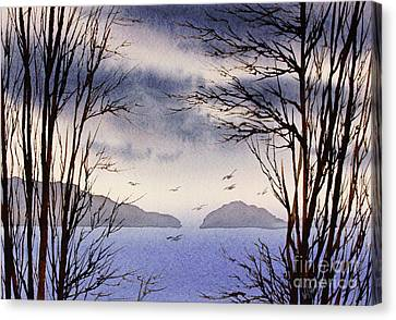 Canvas Print featuring the painting Quiet Shore by James Williamson