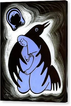 Raven Holds Me When I Weep Canvas Print by Angela Treat Lyon