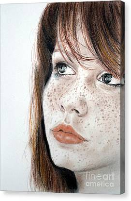 Red Hair And Freckled Beauty Canvas Print by Jim Fitzpatrick