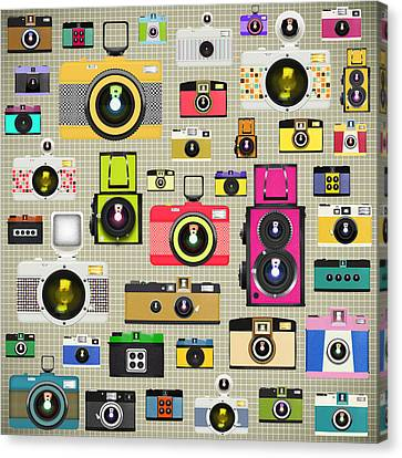 Retro Camera Pattern Canvas Print by Setsiri Silapasuwanchai