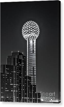 Reunion Tower In Black And White Canvas Print by Tod and Cynthia Grubbs