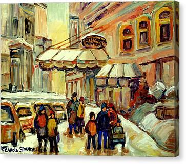 Ritz Carlton Montreal Streetscene Canvas Print by Carole Spandau