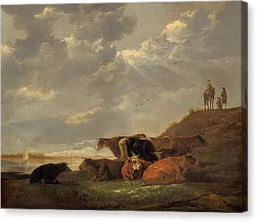 River Landscape With Cows Canvas Print by Aelbert Cuyp