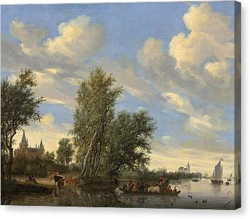River Landscape With Ferry Canvas Print