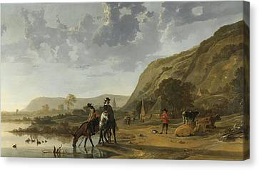 River Landscape With Riders Canvas Print by Aelbert Cuyp