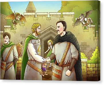 Robin Hood And The Captain Of The Guard Canvas Print by Reynold Jay