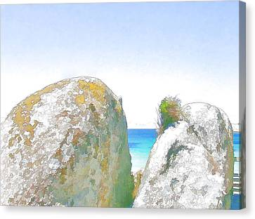 2 Rocks By The Sea Canvas Print