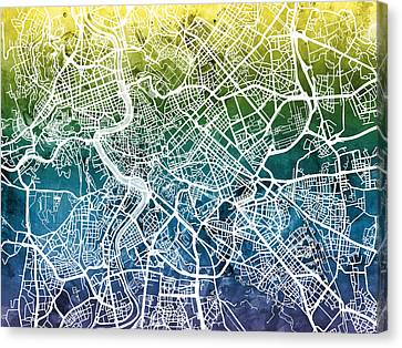 Italian Street Canvas Print - Rome Italy City Street Map by Michael Tompsett