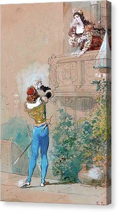Romeo And Juliet Canvas Print by Eugene Lami