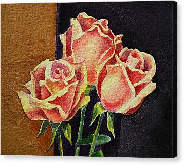 Old School Houses Canvas Print - Roses   by Irina Sztukowski