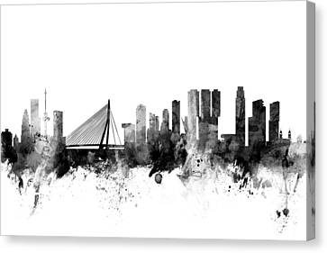 Holland Canvas Print - Rotterdam The Netherlands Skyline by Michael Tompsett