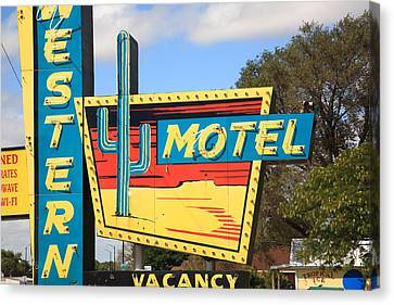 Route 66 - Western Motel Canvas Print by Frank Romeo