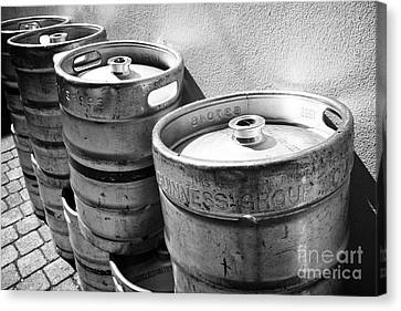Row Of Guinness Stout Barrels Outside A Pub Sligo Republic Of Ireland Canvas Print