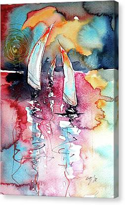 Canvas Print featuring the painting Sailboats by Kovacs Anna Brigitta
