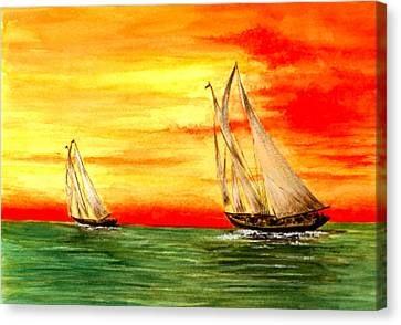 2 Sailboats Canvas Print by Michael Vigliotti