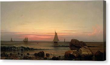Sailing Off The Coast Canvas Print by Martin Johnson Heade