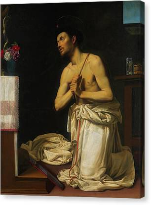 Canvas Print featuring the painting Saint Dominic In Penitence by Filippo Tarchiani
