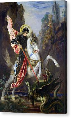 Saint George And The Dragon Canvas Print by Gustave Moreau