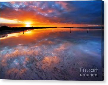 Salt Pan Sunrise Canvas Print by Bill  Robinson