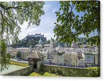Salzburg Gorgeous Old Town With Citywall Canvas Print