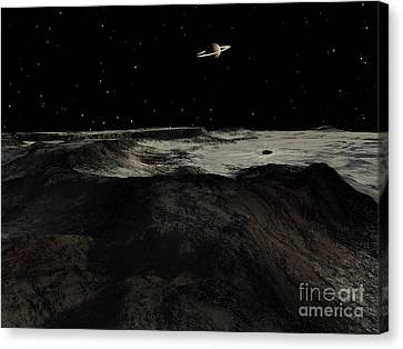 Saturn Seen From The Surface Canvas Print by Ron Miller