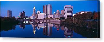 Scioto River And Columbus Ohio Skyline Canvas Print