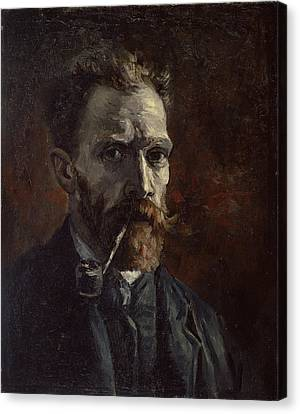 Self-portrait With Pipe Canvas Print by Vincent van Gogh