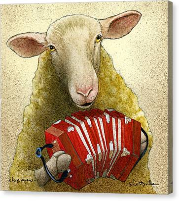 Canvas Print featuring the painting Sheep Music... by Will Bullas
