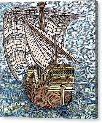 Ship From The Time Of Christopher Columbus Canvas Print by English School