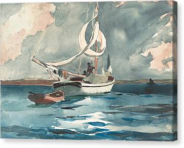 Sloop, Nassau Canvas Print by Winslow Homer