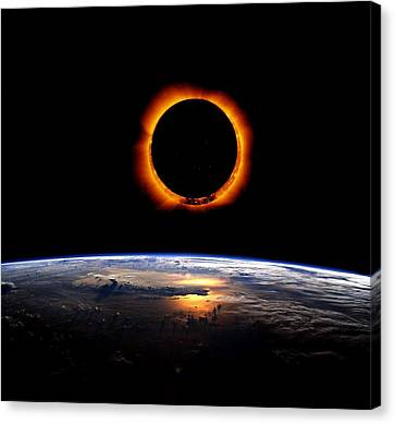 Totality Canvas Print - Solar Eclipse From Above The Earth by Adam Asar