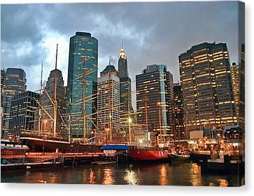 South Street Seaport Canvas Print - South Street Seaport by June Marie Sobrito