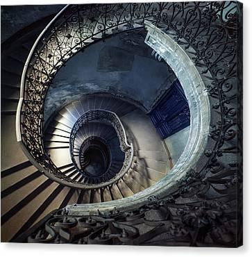 Spiral Staircase With Ornamented Handrail Canvas Print by Jaroslaw Blaminsky