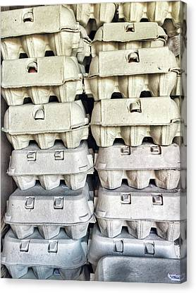 Cardboard Canvas Print - Stacked Egg Boxes by Tom Gowanlock