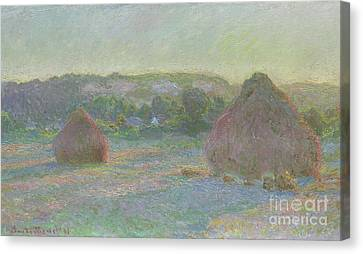 Casting Canvas Print - Stacks Of Wheat, End Of Summer by Claude Monet