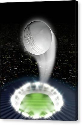 Stadium Night With Ball Swoosh Canvas Print by Allan Swart