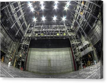 Canvas Print featuring the photograph Stage In The Abandoned Theatre by Michal Boubin