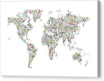 Stars Map Of The World Map Canvas Print by Michael Tompsett