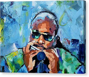 Canvas Print featuring the painting Stevie Wonder by Richard Day