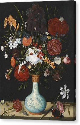 Still Life Of Roses Canvas Print by Ambrosius Bosschaert the Elder