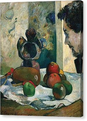 Still Life With Profile Of Laval Canvas Print by Paul Gauguin