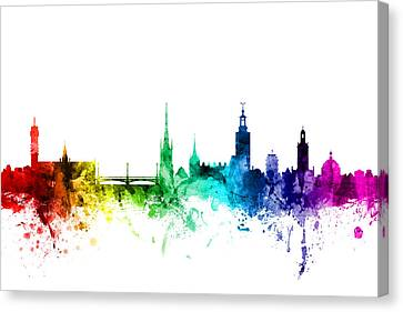 Stockholm Sweden Skyline Canvas Print by Michael Tompsett